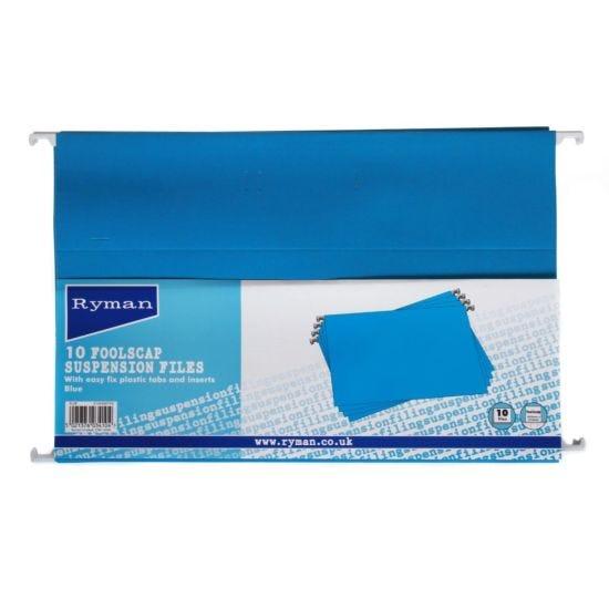 Ryman Suspension Files Foolscap Pack of 10 Blue