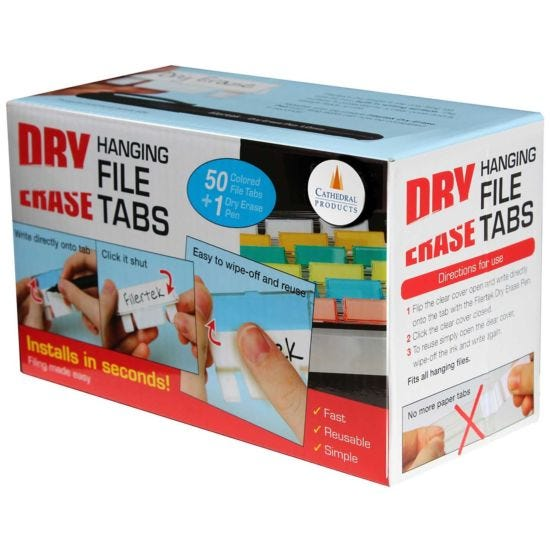 Dry Erase Filing Tabs and Pen Pack of 50 Assorted