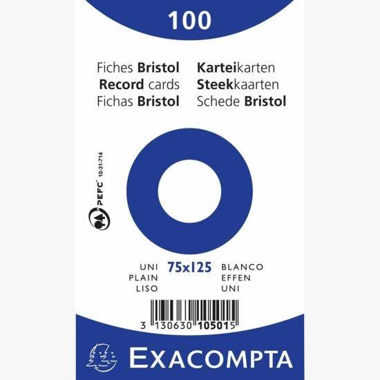Exacompta Record Cards 7.5x12.5cm Plain 20 packs of 100