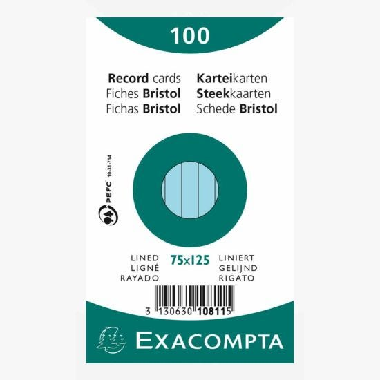 Exacompta Record Cards 7.5x12.5cm Lined Blue Pack of 100