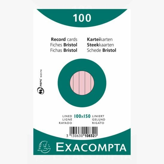 Exacompta Record Cards 10x15cm Lined Pink Pack of 100