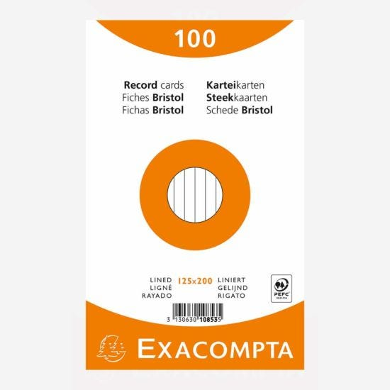 Exacompta Record Cards 12.5x20cm Lined Assorted Colours Pack of 100