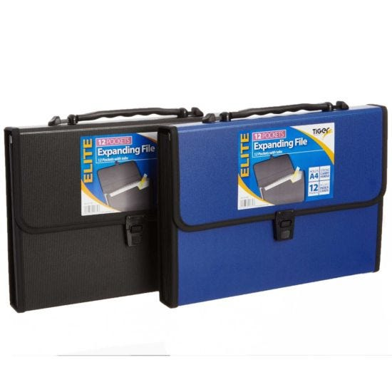 Tiger Elite Heavy Duty Expandable File A4 12 Pocket Assorted