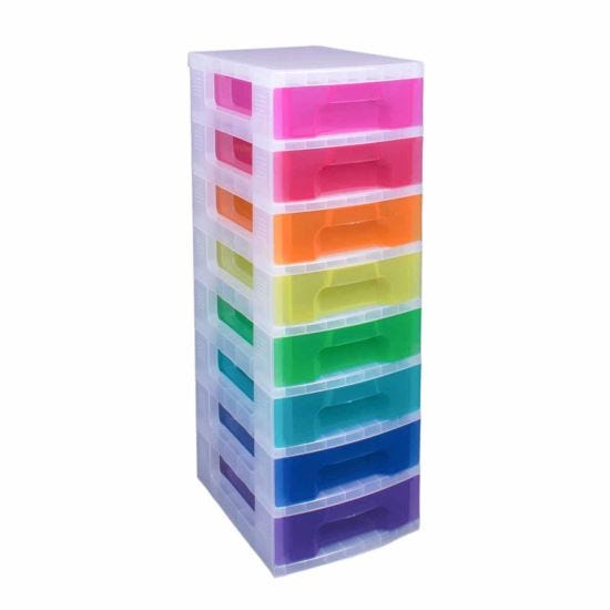 Really Useful Storage Drawer Unit Clear/Rainbow 8x7 Litre