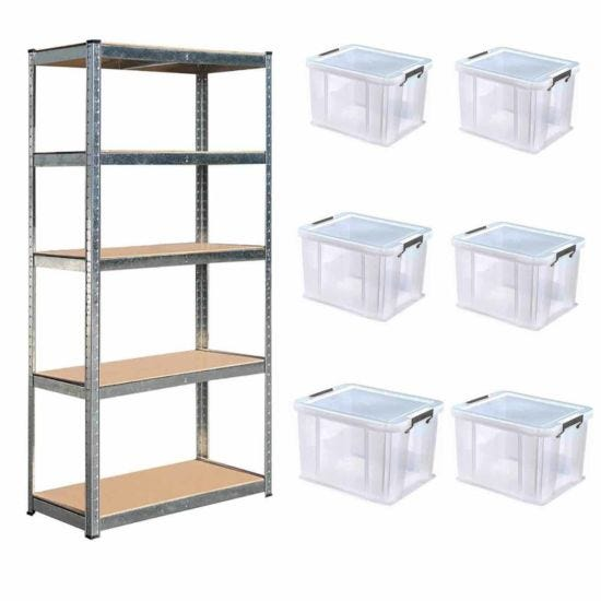 Hilka Boltless Shelving with 6x36L Allstore Boxes