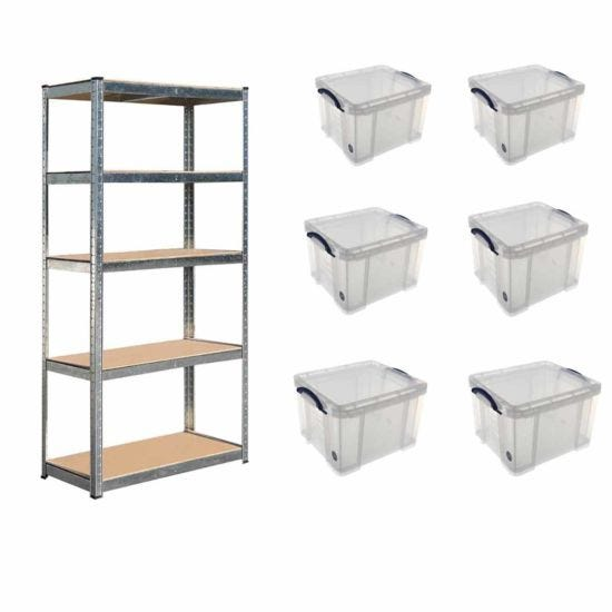 Hilka Boltless Shelving with Pack of 6 Really Useful Box 35L