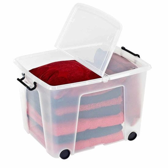 Strata Smart Plastic Storage Box with Wheels 75 Litre
