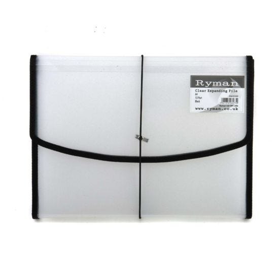 Ryman Expanding File A4 13 Part Clear Black Piping