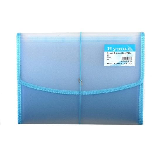 Ryman Expanding File A4 13 Part Clear Blue Piping