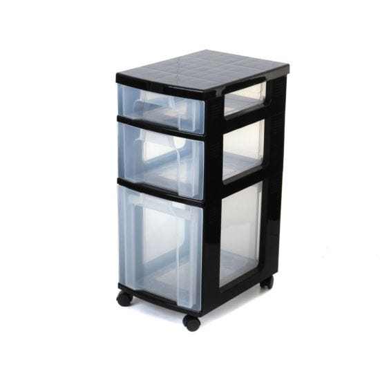 Really Useful Desk Storage Cabinet 7, 12 and 25 Litre Drawer Black/Clear