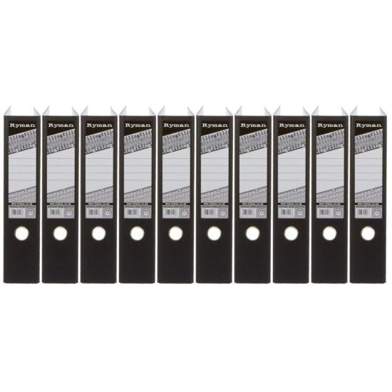 Ryman Colour Lever Arch Files Foolscap Pack of 10 Black