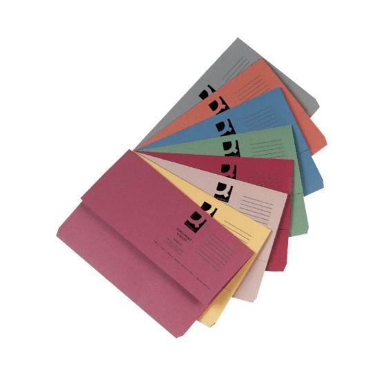 Document Wallet 285gsm Foolscap Pack of 50 Asstd