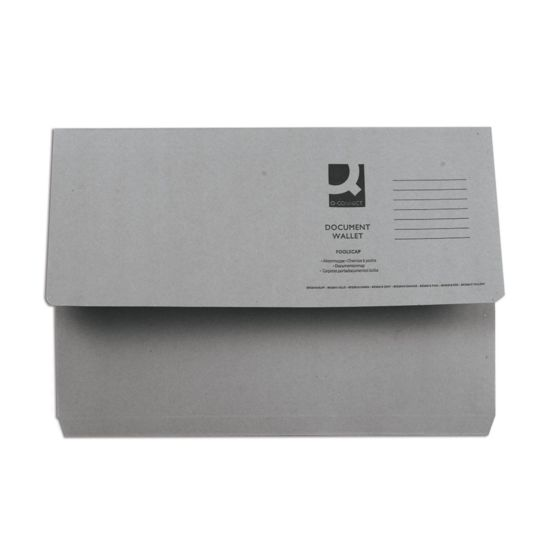 Document Wallet 285gsm Foolscap Pack of 50 Grey
