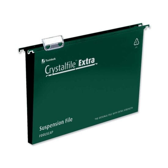 Crystalfile Extra Foolscap Suspension Files 50mm Capacity Pack of 25 Green