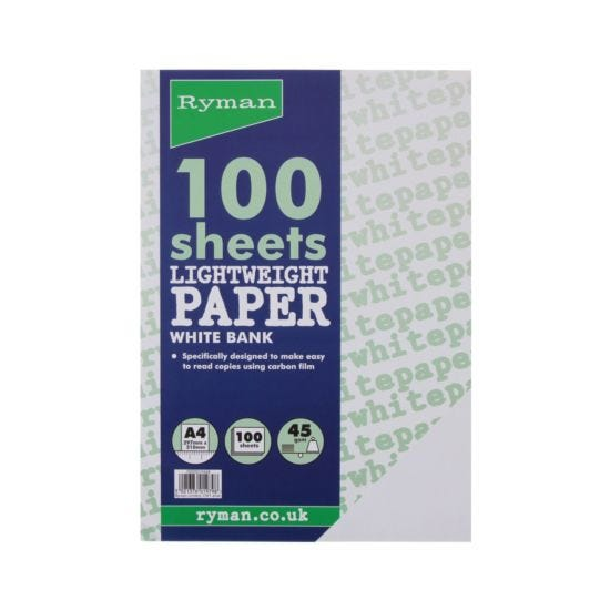 Ryman Bank Typing Paper A4 45gsm 100 Sheets