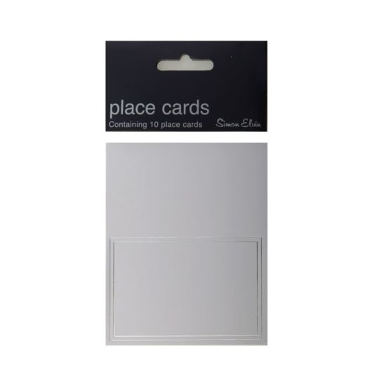 Simon Elvin White Place Cards with Border Pack of 10