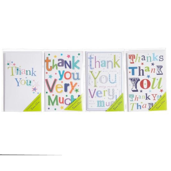 Thank You Notelets Acetate Box of 8 Assorted