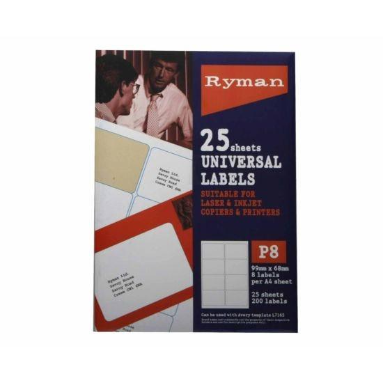 Ryman Address Labels P8 Universal 99x68mm 8 per A4 Sheet 25 sheets