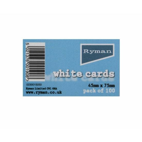 Ryman White Cards 45x75mm Pack of 100