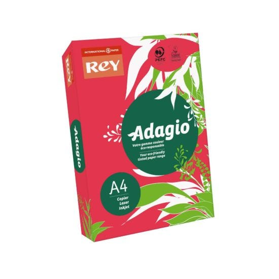 Adagio Colour Selection Card A4 160gsm 250 Sheets Red