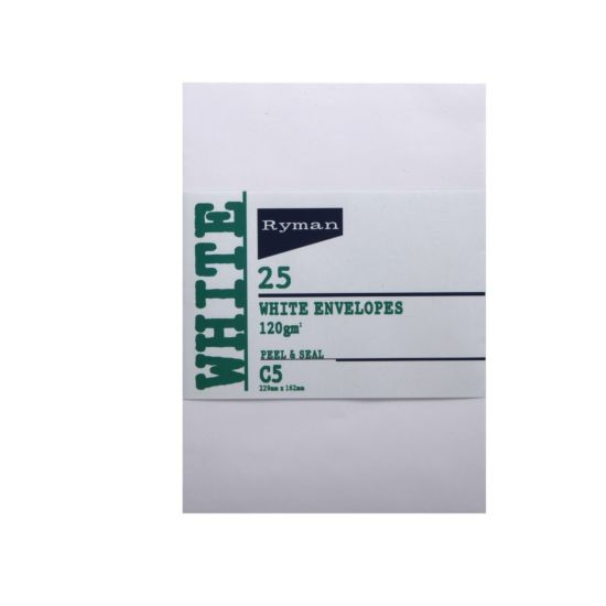 Ryman Card Envelopes C5 120gsm Peel and Seal Pack of 25 White