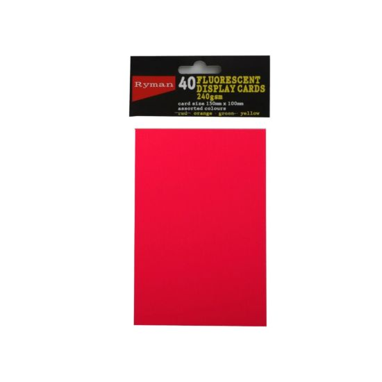 Ryman Fluorescent Display Cards Pack of 40