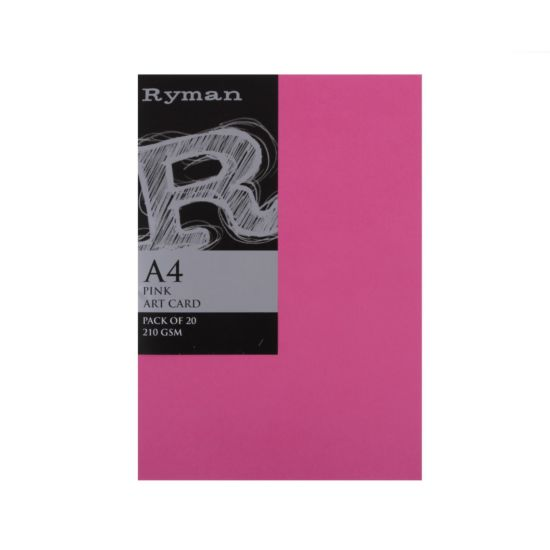 Ryman Artcard A4 210gsm Pack of 20 Pink