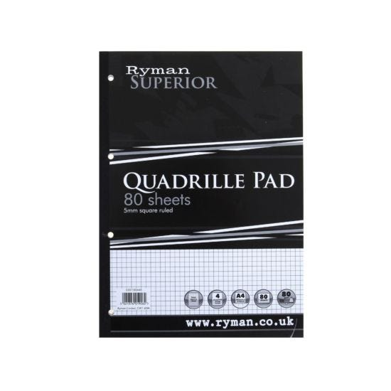 Ryman Superior Pad 80 Sheets A4 Quadrille Pack of 5