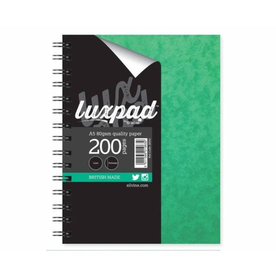 Silvine Notebook Twinwire Stiff Press Board Pack of 6 A5 75gsm 192 Pages
