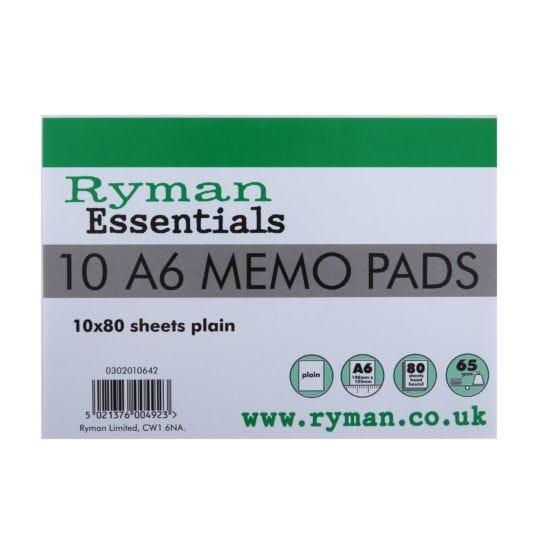 Ryman Memo Pad A6 65gsm Plain 160 Pages 80 Sheets