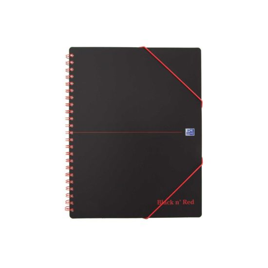 Oxford Black n Red A4 Plus Meeting Book Wirebound with Rear Elasticated 3-Flap Folder