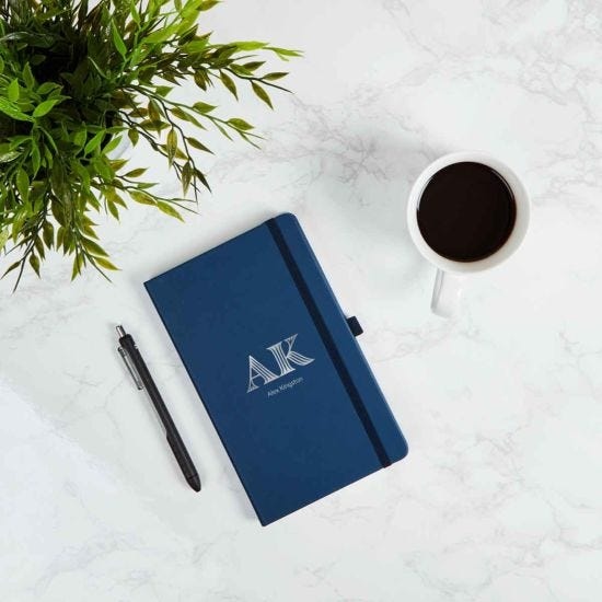 Ryman Personalised Soft Cover Medium Initials and Name Navy Notebook