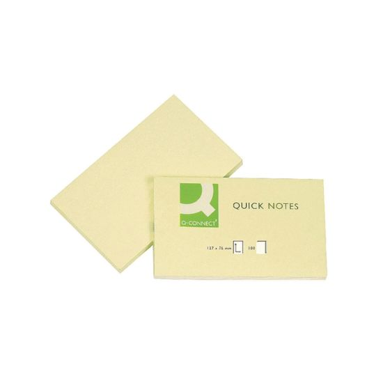 Q-Connect Repositionable Quick Notes 76 x 127mm Yellow Pack of 12