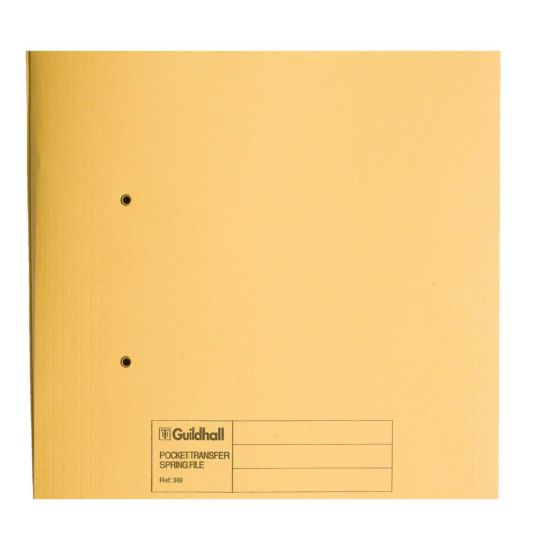 Pocket Transfer Spiral File Foolscap Pack of 25 Yellow