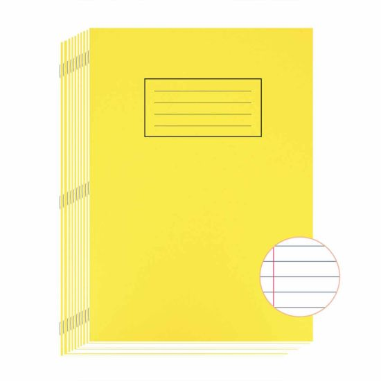 Silvine Exercise Book A4 80 Page Ruled 75gsm Pack of 10 Yellow