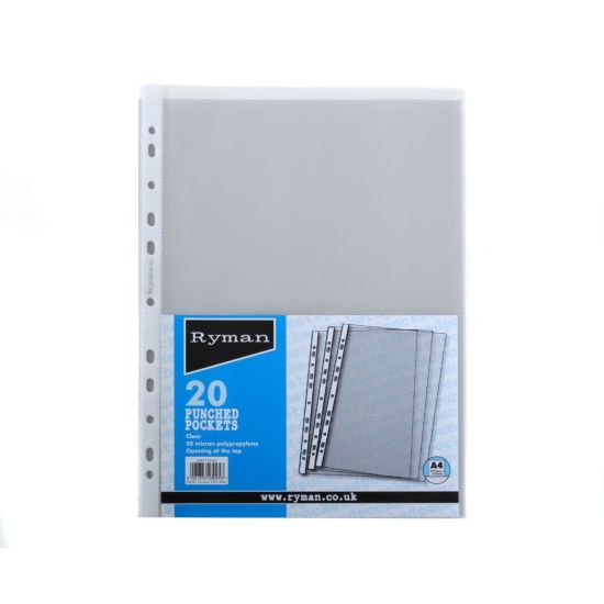 Ryman Punched Pockets A4 50 Micron Pack of 20