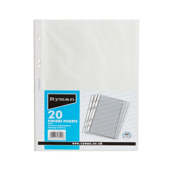 Ryman Punched Pockets A5 50 Micron Pack of 20