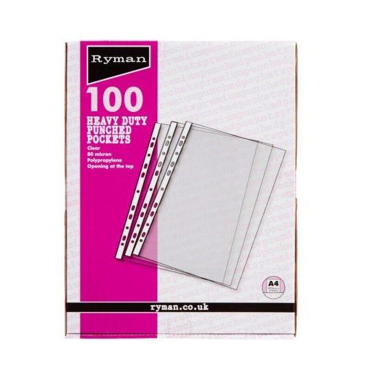 Ryman Premium Pockets Pack of 100 A4 80 Micron Clear