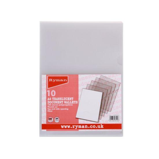 Ryman Thumb Cut Folders A4 100 Micron Pack of 10