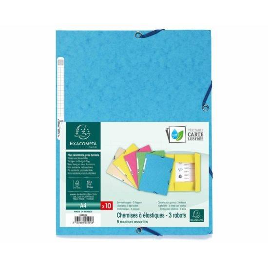 Exacompta Europa 3 Flap Elastic Folder A4 Pack of 50 400g Assorted Colours C