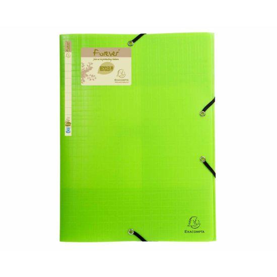 Exacompta Forever Elastic 3 Flap Folder A4 Pack of 15 Lime