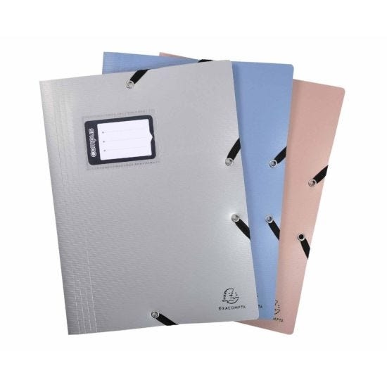 Exacompta Campus Elastic 3 Flap Folder A4 Pack of 15 Assorted