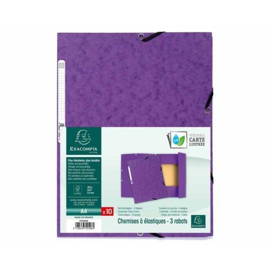 Exacompta Europa Elastic 3 Flap Folder A4 Pack of 50 Purple