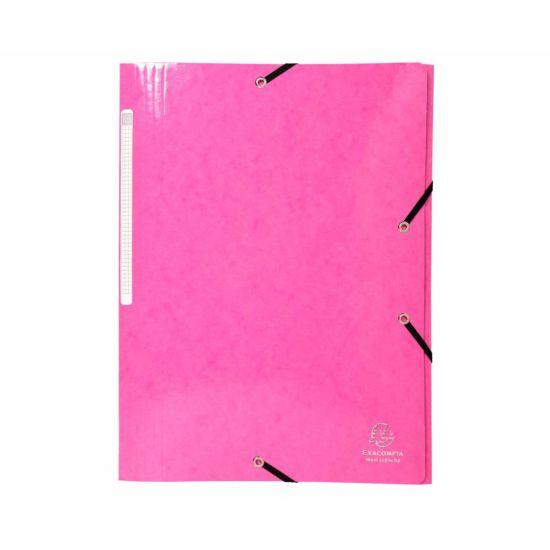 Exacompta Iderama Elastic 3 Flap Folder A4 Pack of 25 Pink