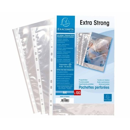 Exacompta Punch Pockets Pack of 100 A4 90 Micron Clear