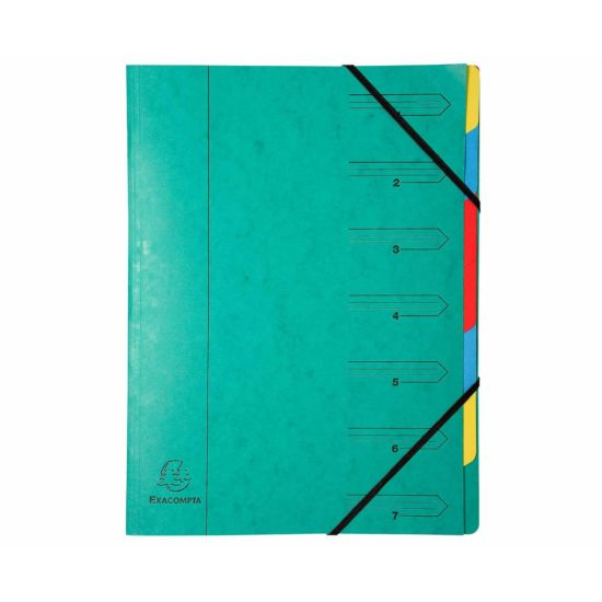 Exacompta Europa Multi File 7 Part Card Dividers A4 400gsm Pack of 12 Green