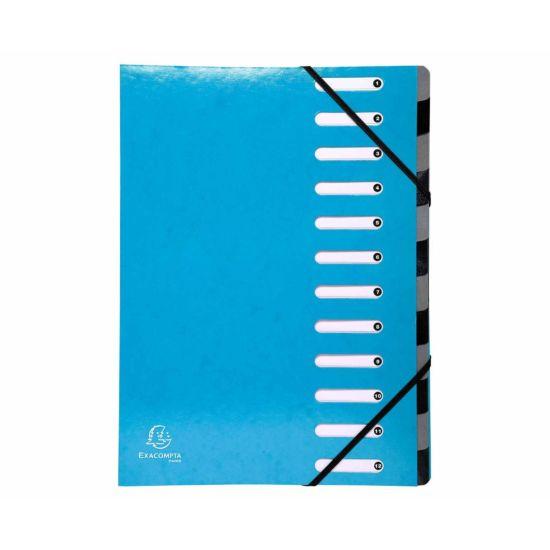 Exacompta Iderama Multi File 12 Part A4 600gsm Pack of 6 Blue