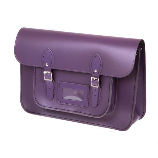 British Made Recycled Leather Satchel Purple
