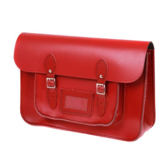 British Made Recycled Leather Satchel Red