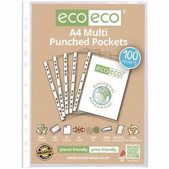 eco eco Punched Pockets A4 Pack of 100 Clear